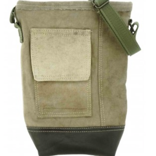 RECYCLED MILITARY TENT CROSSBODY WITH LEATHER ACCENT