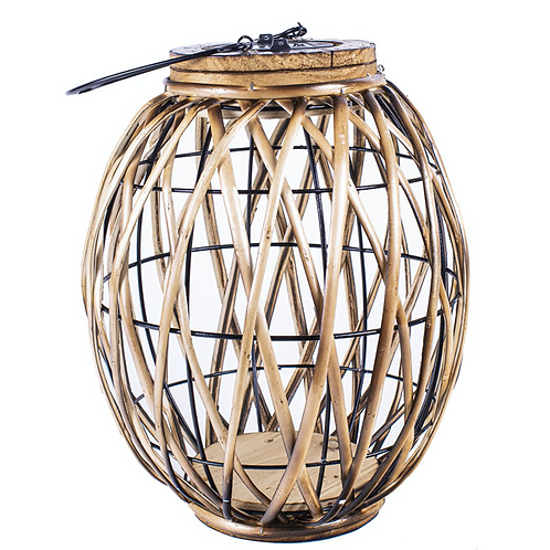 Oblong Wicker Solar Lantern