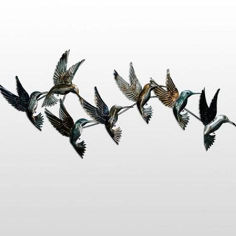 Flying Hummingbirds Metal Wall Decor