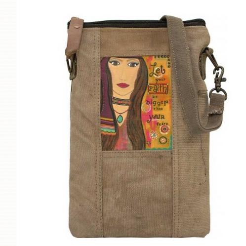 Faith Bigger Than Fear - Recycled Military Tent - Crossbody Bag