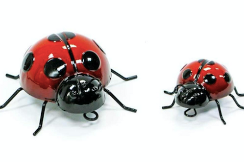 Set of 2 Decorative Metal Ladybugs