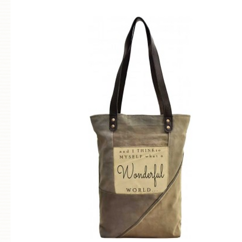 Wonderful World - Recycled Military Tent - Tote