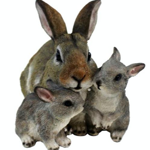 Polyresin Rabbit Family Figurine