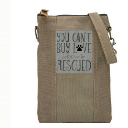 Rescue Dog - Recycled Military Tent - Crossbody Bag