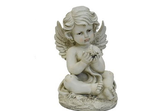 Angel Sitting with a Dove, Resin