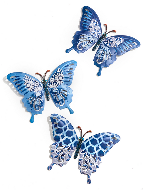 Metal Butterfly Wall Décor - 3 Assorted