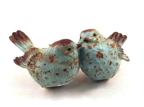 Antique Blue Polyresin Birds / Double