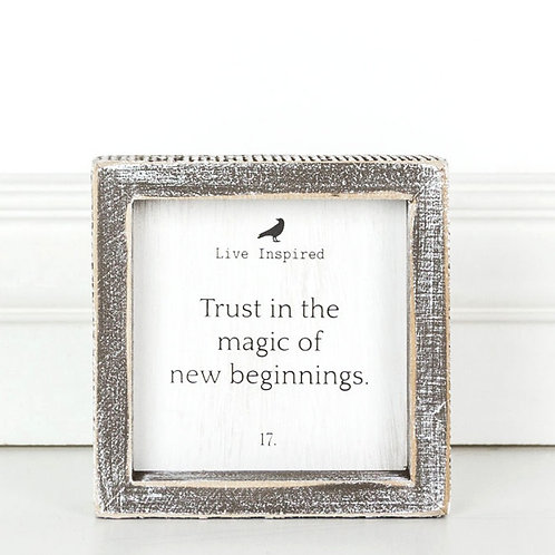 "Live Inspired - Trust in the Magic - Wood Sign - 5""x 5"""