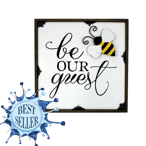 Bee Our Guest Shelf Plaque