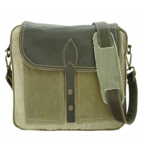 LEATHER AND RECYCLED MILITARY TENT MESSENGER BAG