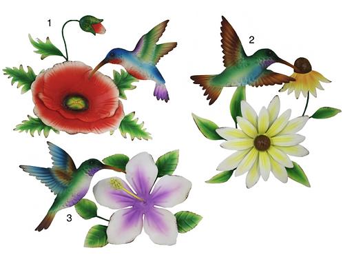 Metal Hummingbird/Flower Wallart