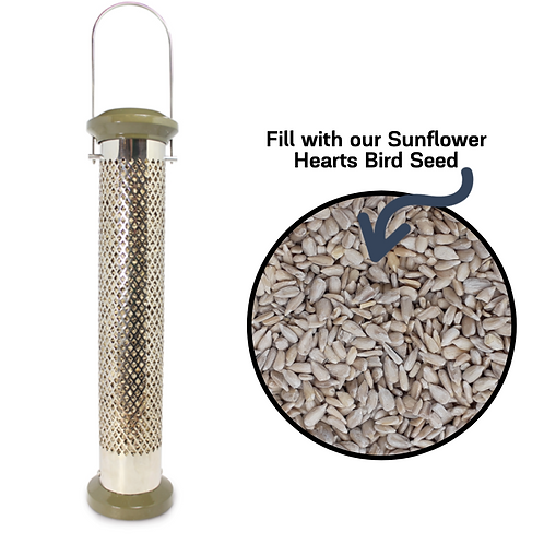 "Pinebush - 16"" Sunflower Hearts/Chips Tube Feeder"