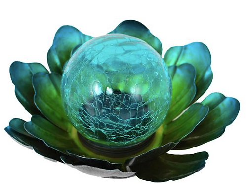 Solar Metal Blue Flower with Glass Ball