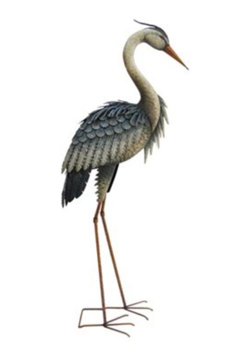 Metal Free-Standing Heron Statue