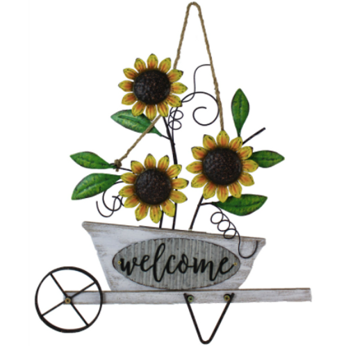 Hanging Sunflower Metal Welcome Sign