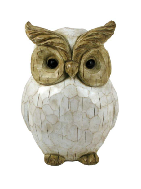 Distressed White Carved Polyresin Owl