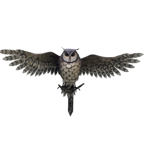Owl Statue with Open Wings, Metal