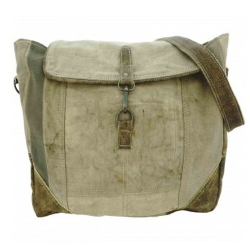 VINTAGE LEATHER AND RECYCLED MILITARY TENT MESSENGER BAG