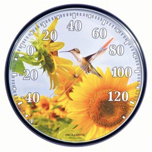 Sunflower Hummingbird Thermometer