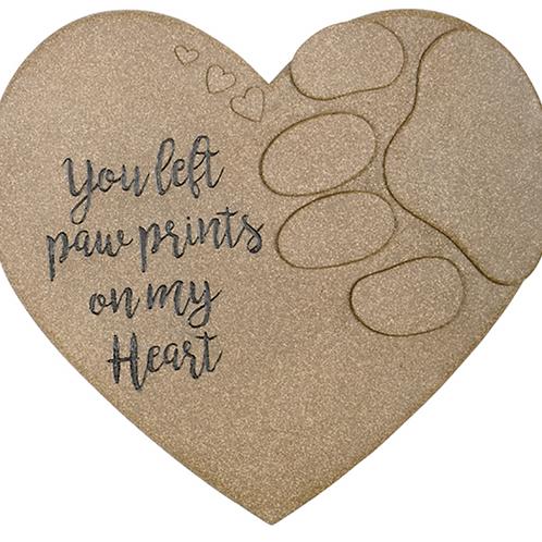 Paw Print on Heart Garden Stone
