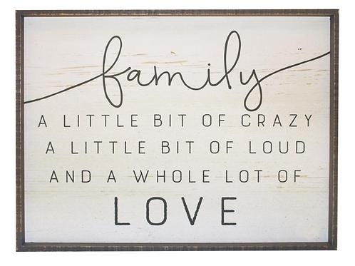 Wood Wall Art- 'Family a Little Bit of Crazy a Little Bit of Loud