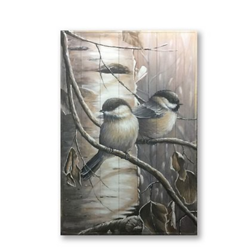 Two Chickadees Sitting on a Branch, Large Oil Painting on Wood
