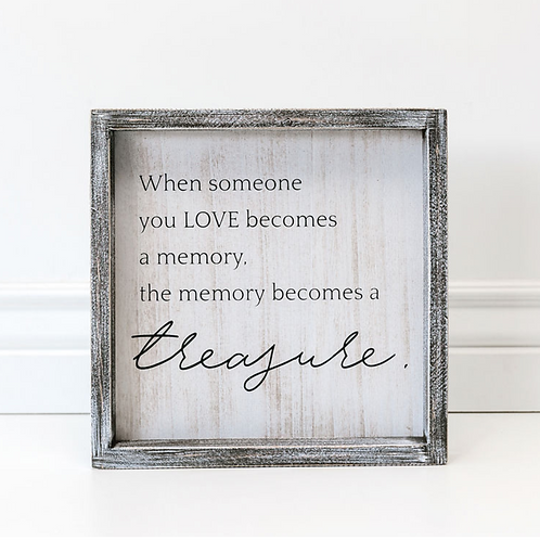 """Memory/Treasure"" - Wood Sign - 10""x10"""