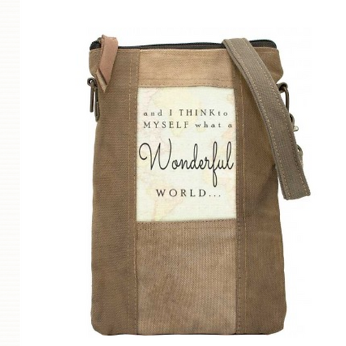 Wonderful World - Recycled Military Tent - Crossbody Bag