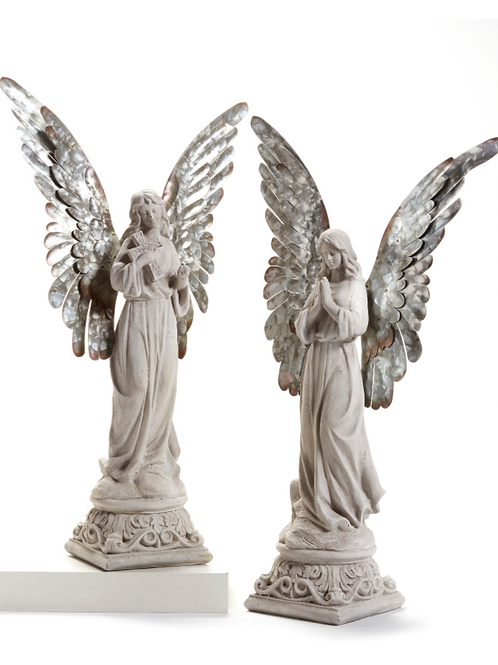 Polyresin Angel with Metal Wings