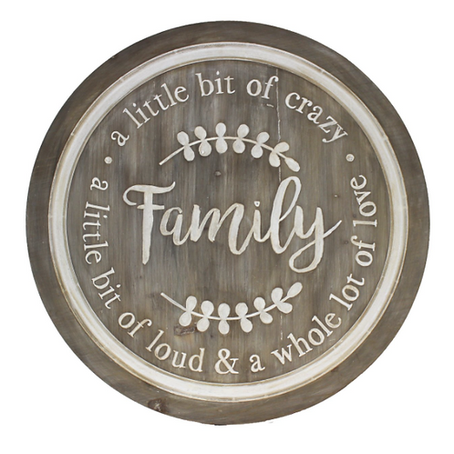 Round Wood Family Wall Plaque
