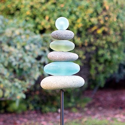 Glass Cairn Garden Stake