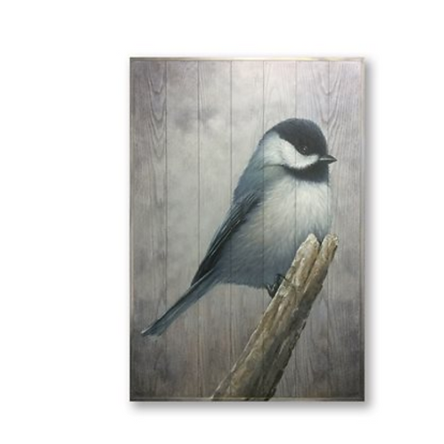 Chickadee Resting on Branch, Large Oil Painting on Wood