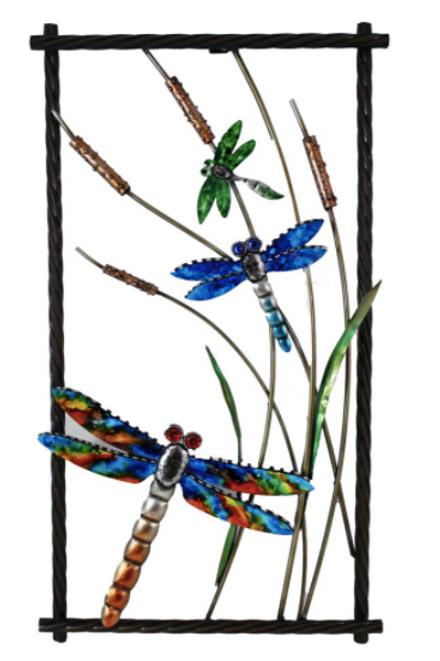 Metal Framed Dragonfly Wallart