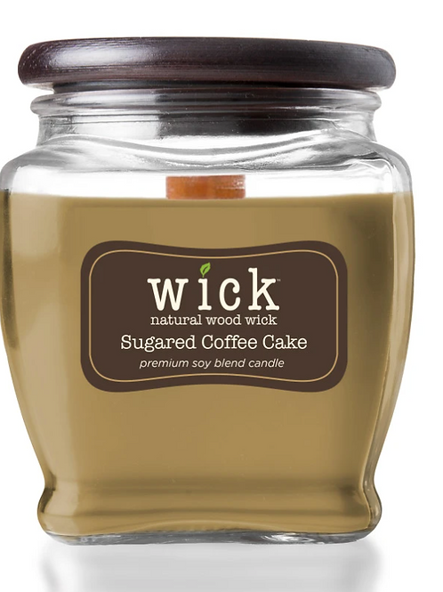 Wick Scented Jar Candle, Wooden Wick and Top, Sugared Coffee Cake, 15 oz, Single