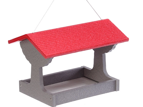 Green Solutions Fly-Thru Feeder Grey with  Red Roof