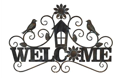 Metal Birds & Flowers Welcome Sign