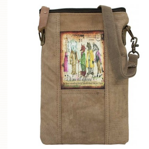 We are all Different- Recycled Military Tent - Crossbody Bag