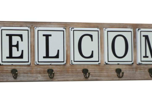 Welcome Metal Bubble Sign with Hooks