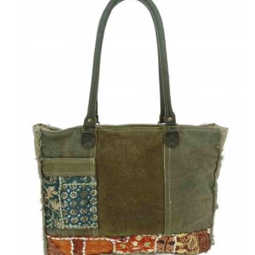 RECYCLED TENT TOTE WITH VINTAGE TEXTILES