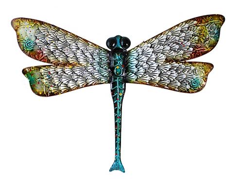 Metallic 3D Rainbow Dragonfly Wall Art