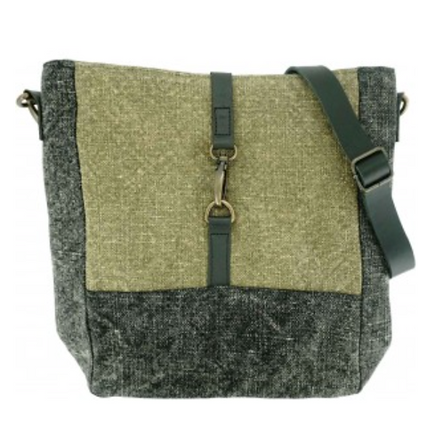 TWO-TONE JUTE CROSSBODY
