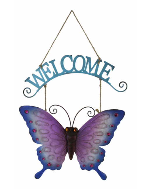 Metal Butterfly Welcome Sign