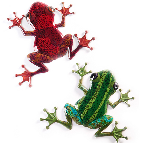 Metal Frog Wall Plaques - 2 Assorted Colours