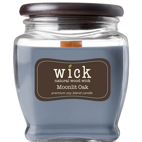 Wick Scented Jar Candle, Wooden Wick and Top, Moonlit Oak, 15 oz, Single