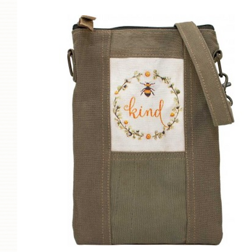 Bee Kind- Recycled Military Tent - Crossbody Bag