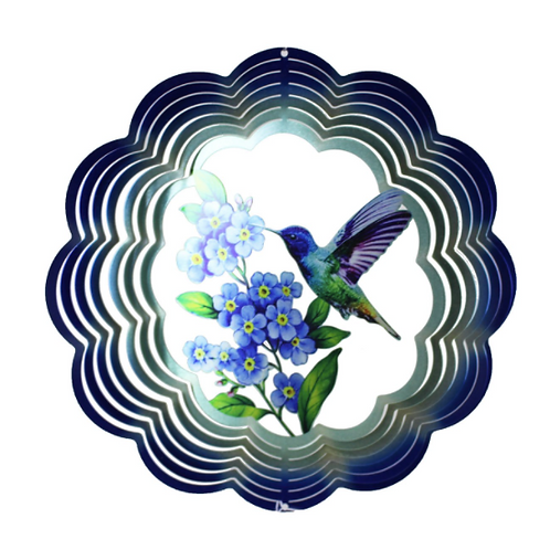 "12"" Hummingbird Flower Metal Spinner"