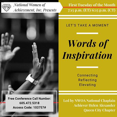 General Monthly NWOA Inspirational Call.