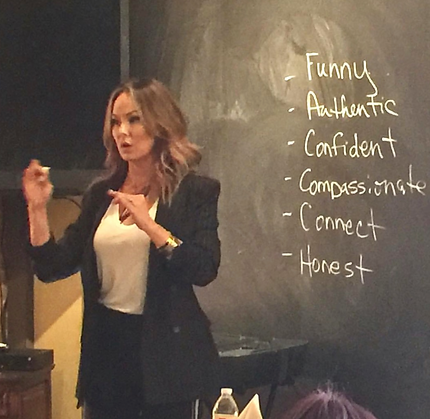 Tiffany Hendra teaching an all women on-camera and speaking workshop in Dallas, TX 2017.