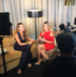 Tiffany Hendra press on E! Entertainment Television with host Carissa Culiner for Real Housewives of Dallas