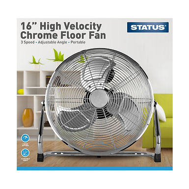 """16"""" High Velocity Chrome Floor Fan"""
